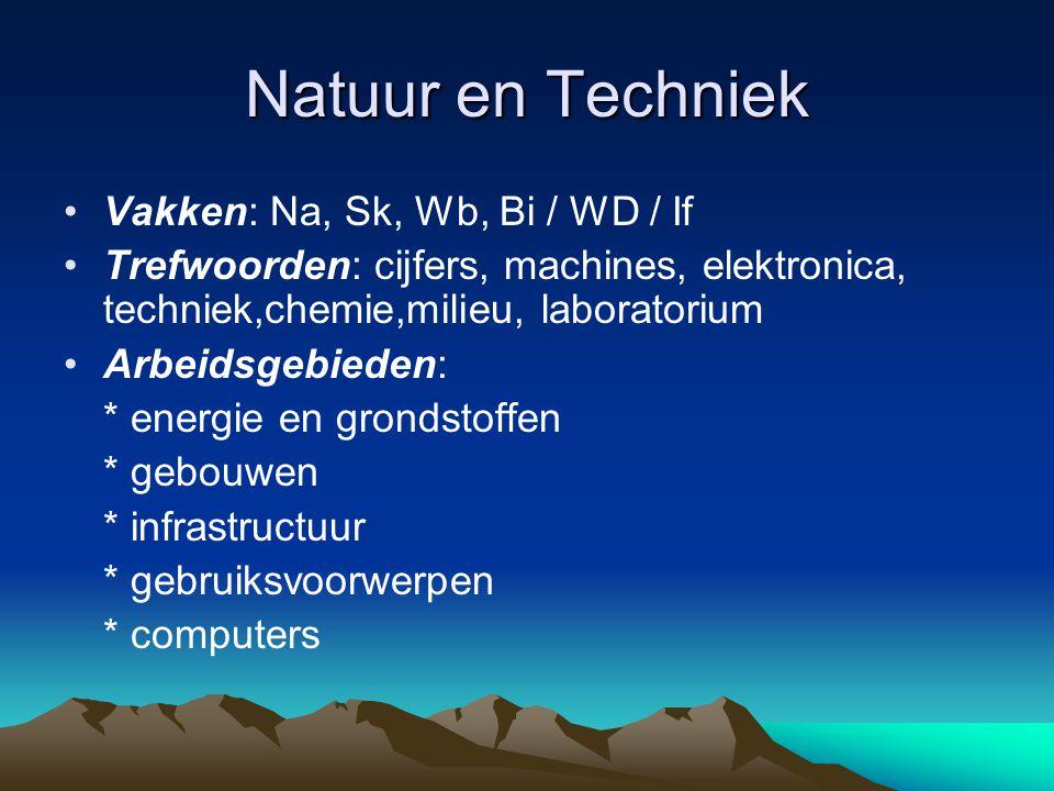 Natuur en Techniek Vakken: Na, Sk, Wb, Bi / WD / If Trefwoorden: cijfers, machines, elektronica, techniek,chemie,milieu, laboratorium Arbeidsgebieden: