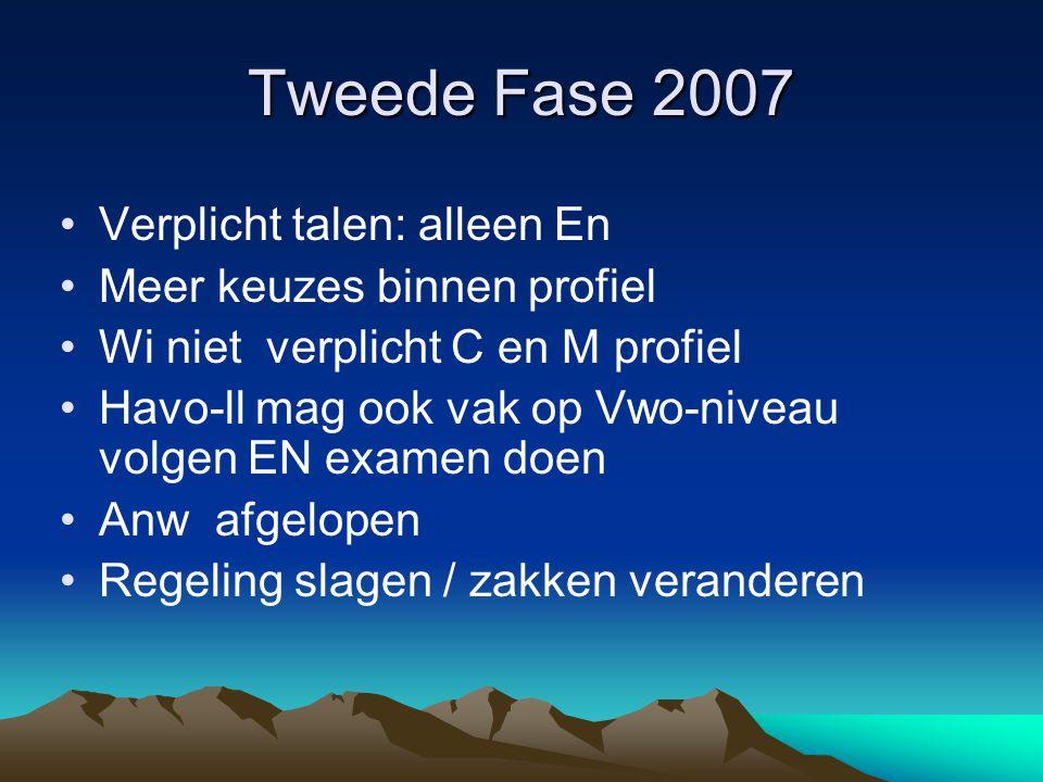Tweede Fase 2007 Verplicht talen: alleen En Meer keuzes binnen profiel Wi niet verplicht C en M profiel Havo-ll mag ook vak op Vwo-niveau volgen EN ex