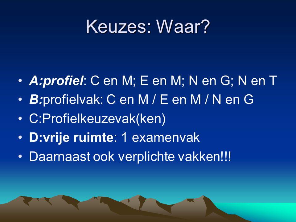 Keuzes: Waar? A:profiel: C en M; E en M; N en G; N en T B:profielvak: C en M / E en M / N en G C:Profielkeuzevak(ken) D:vrije ruimte: 1 examenvak Daar