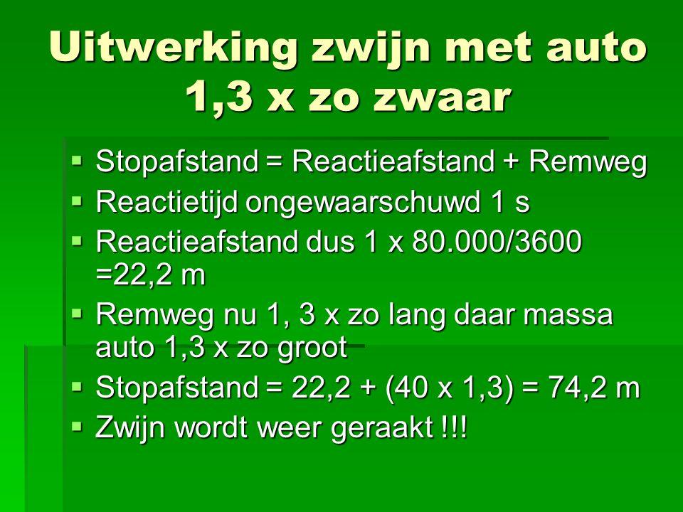 Uitwerking zwijn met auto 1,3 x zo zwaar  Stopafstand = Reactieafstand + Remweg  Reactietijd ongewaarschuwd 1 s  Reactieafstand dus 1 x 80.000/3600