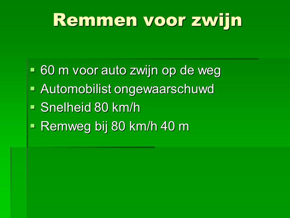  60 m voor auto zwijn op de weg  Automobilist ongewaarschuwd  Snelheid 80 km/h  Remweg bij 80 km/h 40 m