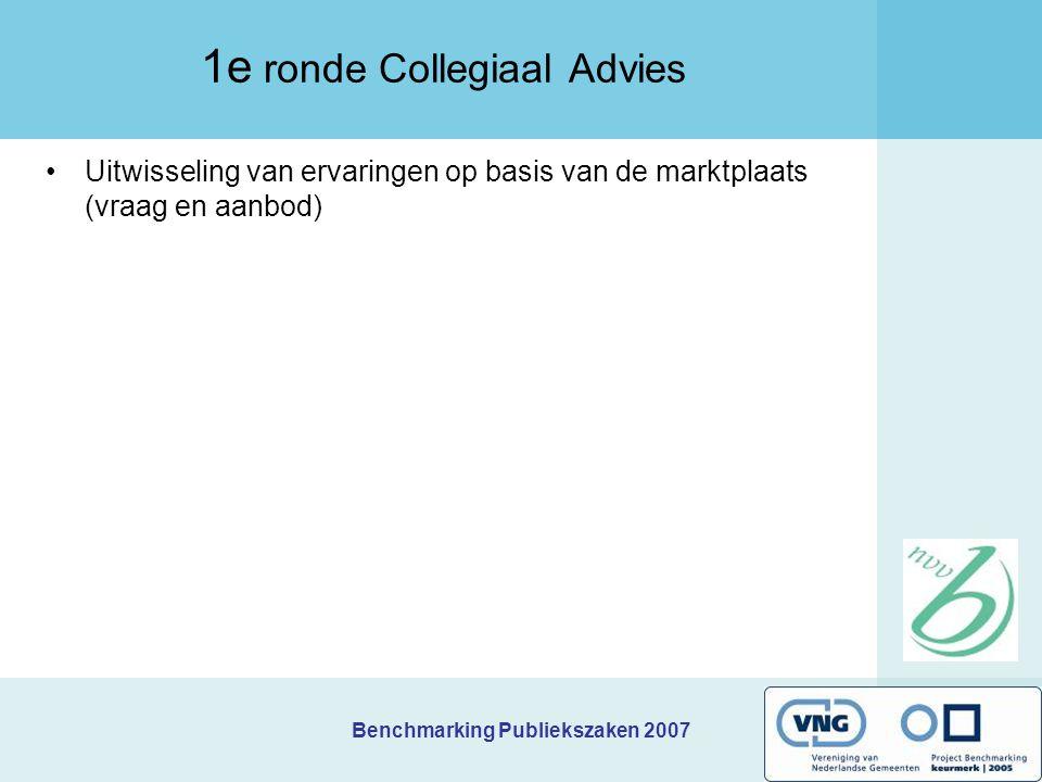 Benchmarking Publiekszaken 2007 Uitwisseling van ervaringen op basis van de marktplaats (vraag en aanbod) 1e ronde Collegiaal Advies