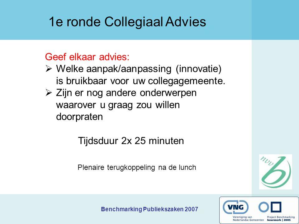 Benchmarking Publiekszaken 2007 Geef elkaar advies:  Welke aanpak/aanpassing (innovatie) is bruikbaar voor uw collegagemeente.  Zijn er nog andere o