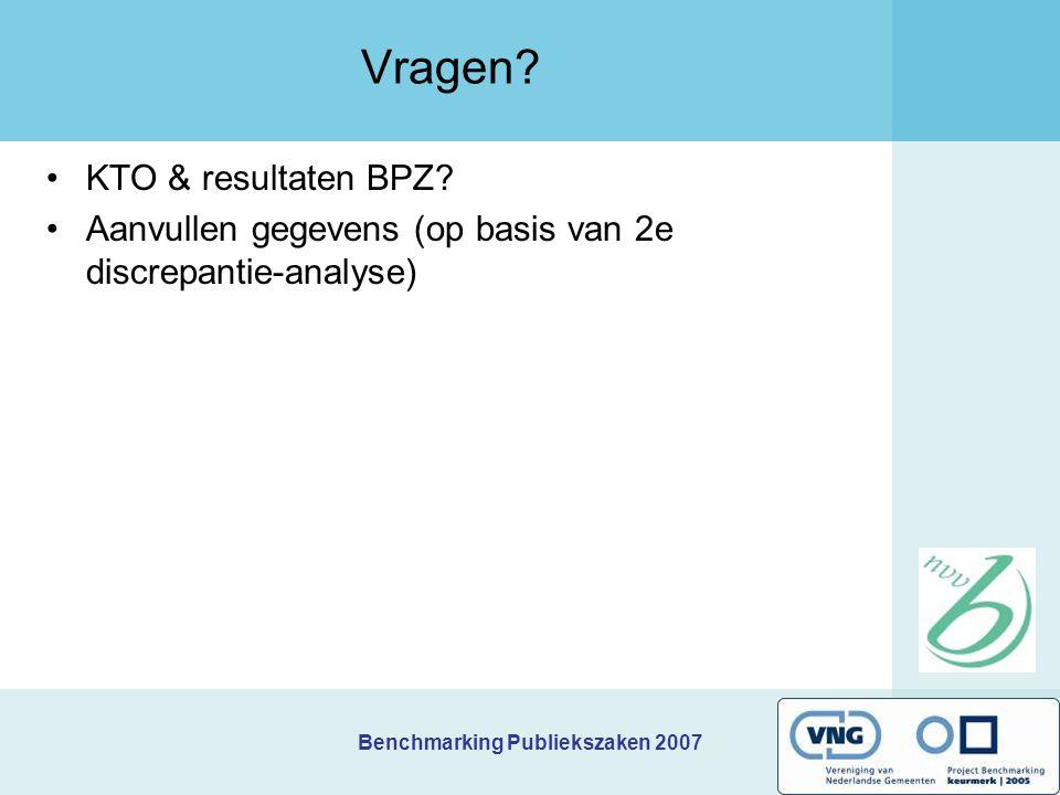 Benchmarking Publiekszaken 2007 Vragen? KTO & resultaten BPZ? Aanvullen gegevens (op basis van 2e discrepantie-analyse)
