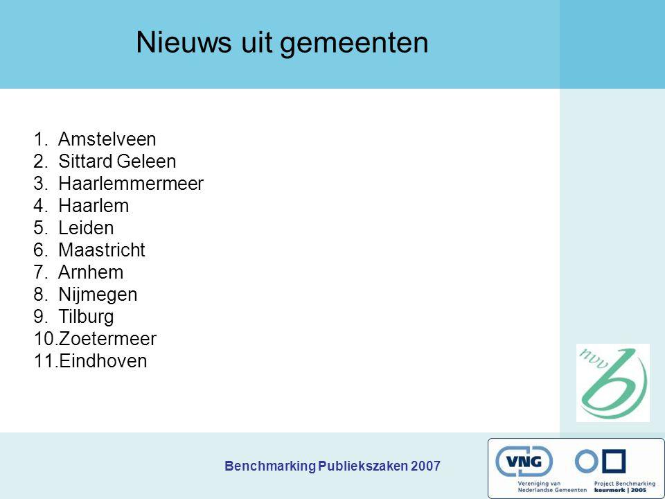 Benchmarking Publiekszaken 2007 1.Amstelveen 2.Sittard Geleen 3.Haarlemmermeer 4.Haarlem 5.Leiden 6.Maastricht 7.Arnhem 8.Nijmegen 9.Tilburg 10.Zoeter
