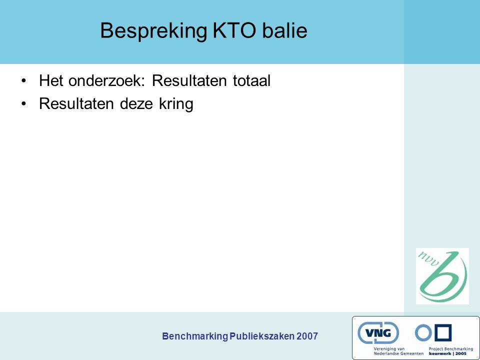 Benchmarking Publiekszaken 2007 Het balie-onderzoek Voor het vierde opeenvolgende jaar Dit jaar gelijktijdig in 80 gemeenten uitgevoerd m.b.v.