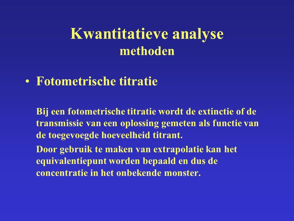 Kwantitatieve analyse methoden Fotometrische titratie Bij een fotometrische titratie wordt de extinctie of de transmissie van een oplossing gemeten al