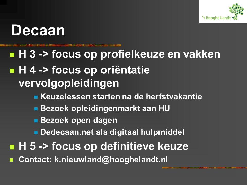 Decaan H 3 -> focus op profielkeuze en vakken H 4 -> focus op oriëntatie vervolgopleidingen Keuzelessen starten na de herfstvakantie Bezoek opleidingenmarkt aan HU Bezoek open dagen Dedecaan.net als digitaal hulpmiddel H 5 -> focus op definitieve keuze Contact: k.nieuwland@hooghelandt.nl