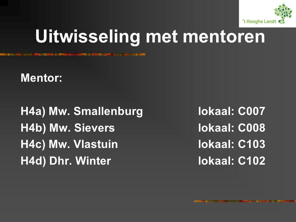 Uitwisseling met mentoren Mentor: H4a) Mw.Smallenburglokaal: C007 H4b) Mw.