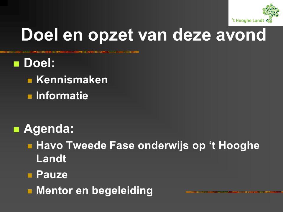 Doel en opzet van deze avond Doel: Kennismaken Informatie Agenda: Havo Tweede Fase onderwijs op 't Hooghe Landt Pauze Mentor en begeleiding