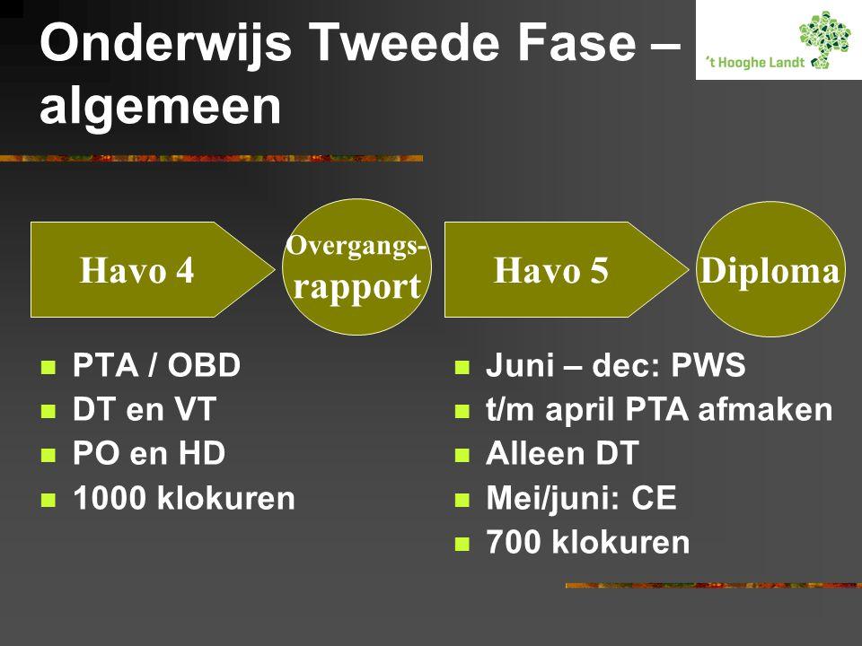 Onderwijs Tweede Fase – algemeen PTA / OBD DT en VT PO en HD 1000 klokuren Havo 4Havo 5 Overgangs- rapport Diploma Juni – dec: PWS t/m april PTA afmaken Alleen DT Mei/juni: CE 700 klokuren