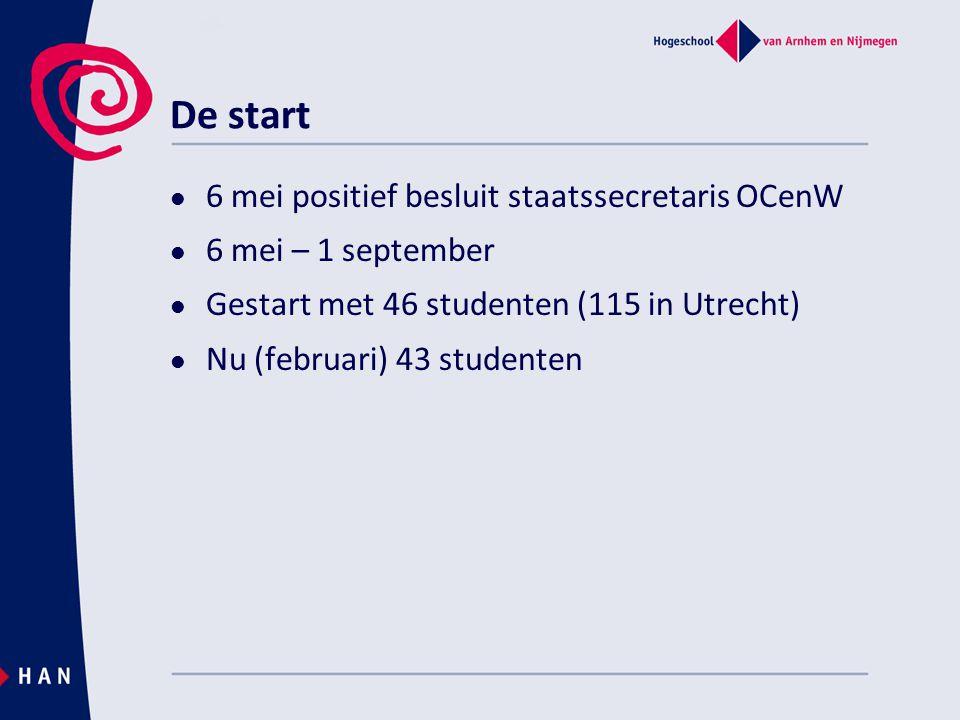 De start 6 mei positief besluit staatssecretaris OCenW 6 mei – 1 september Gestart met 46 studenten (115 in Utrecht) Nu (februari) 43 studenten