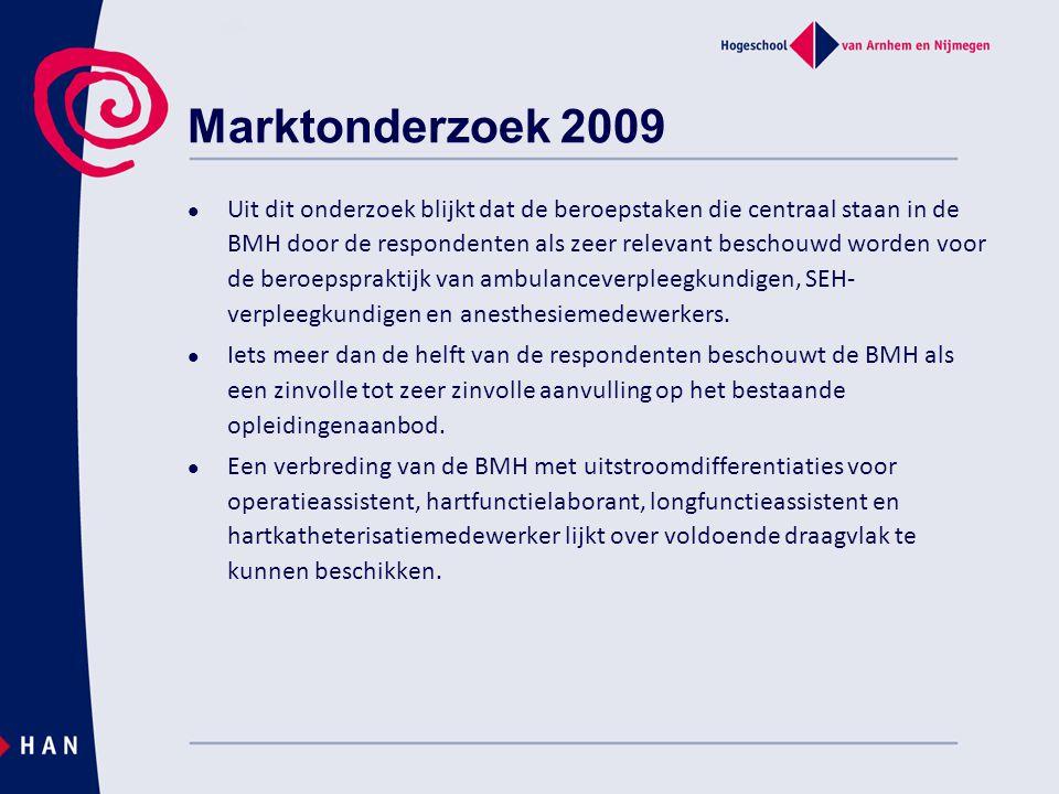 Marktonderzoek 2009 Uit dit onderzoek blijkt dat de beroepstaken die centraal staan in de BMH door de respondenten als zeer relevant beschouwd worden voor de beroepspraktijk van ambulanceverpleegkundigen, SEH- verpleegkundigen en anesthesiemedewerkers.
