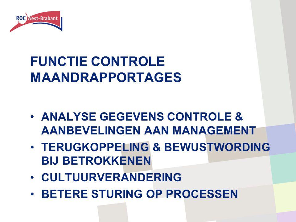 FUNCTIE CONTROLE MAANDRAPPORTAGES ANALYSE GEGEVENS CONTROLE & AANBEVELINGEN AAN MANAGEMENT TERUGKOPPELING & BEWUSTWORDING BIJ BETROKKENEN CULTUURVERANDERING BETERE STURING OP PROCESSEN