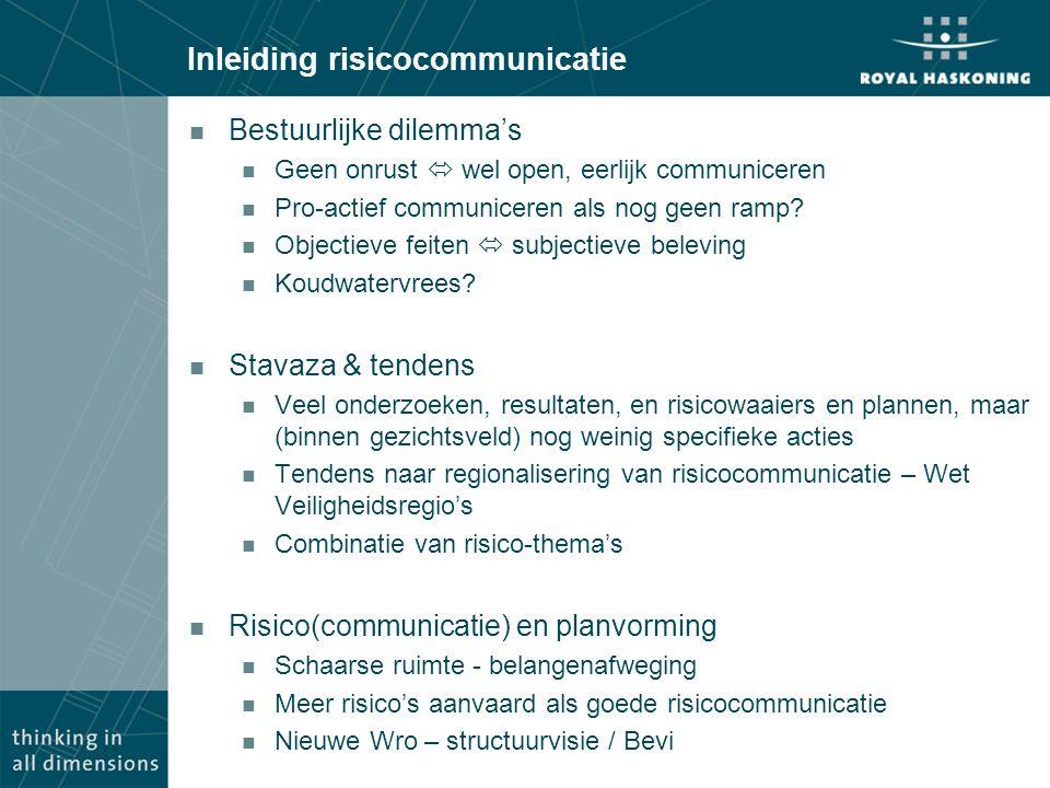 Inleiding risicocommunicatie n Bestuurlijke dilemma's n Geen onrust  wel open, eerlijk communiceren n Pro-actief communiceren als nog geen ramp.