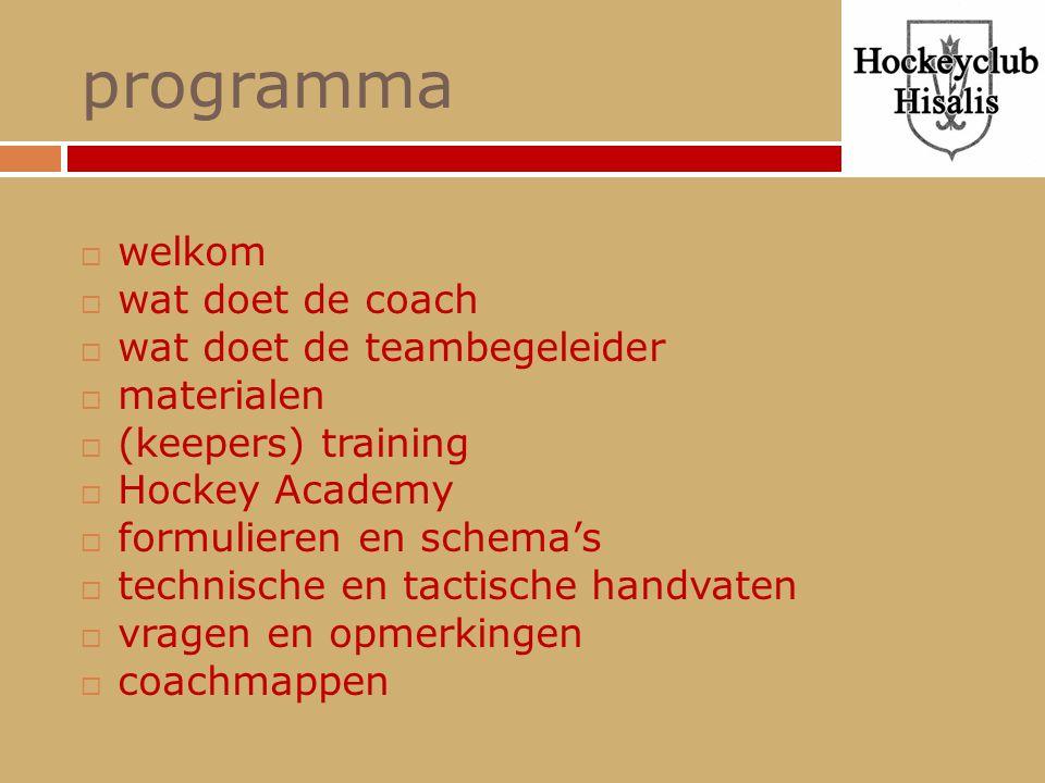 programma  welkom  wat doet de coach  wat doet de teambegeleider  materialen  (keepers) training  Hockey Academy  formulieren en schema's  tec