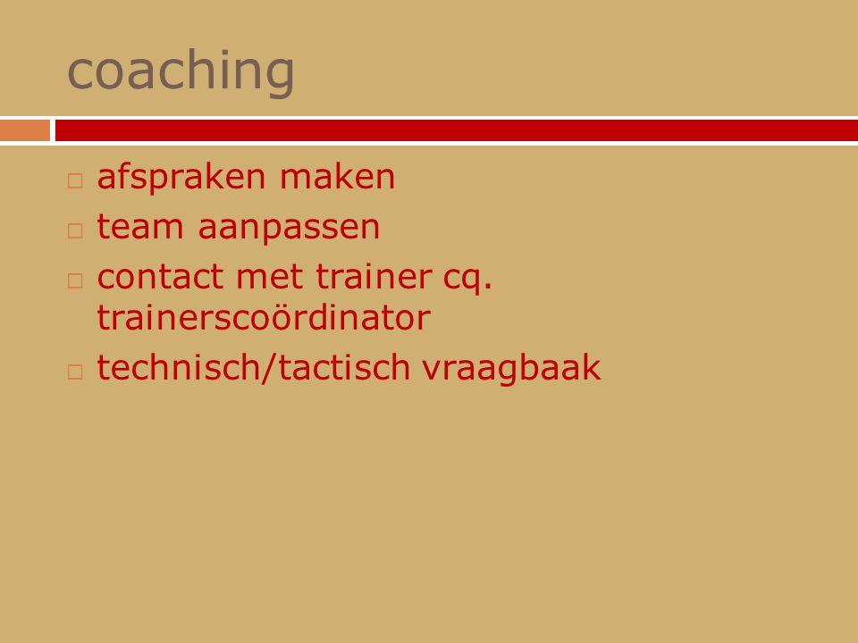 coaching  afspraken maken  team aanpassen  contact met trainer cq. trainerscoördinator  technisch/tactisch vraagbaak
