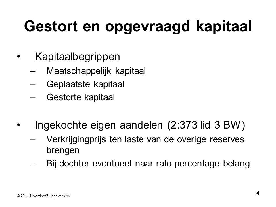 © 2011 Noordhoff Uitgevers bv 55 Ingekochte eigen aandelen (2:373 lid3) Ten laste van overige reserves (voorkeur RJ) Andere vrije reserves zijn mogelijk Heruitgifte ten gunste van dezelfde post in het eigen vermogen.