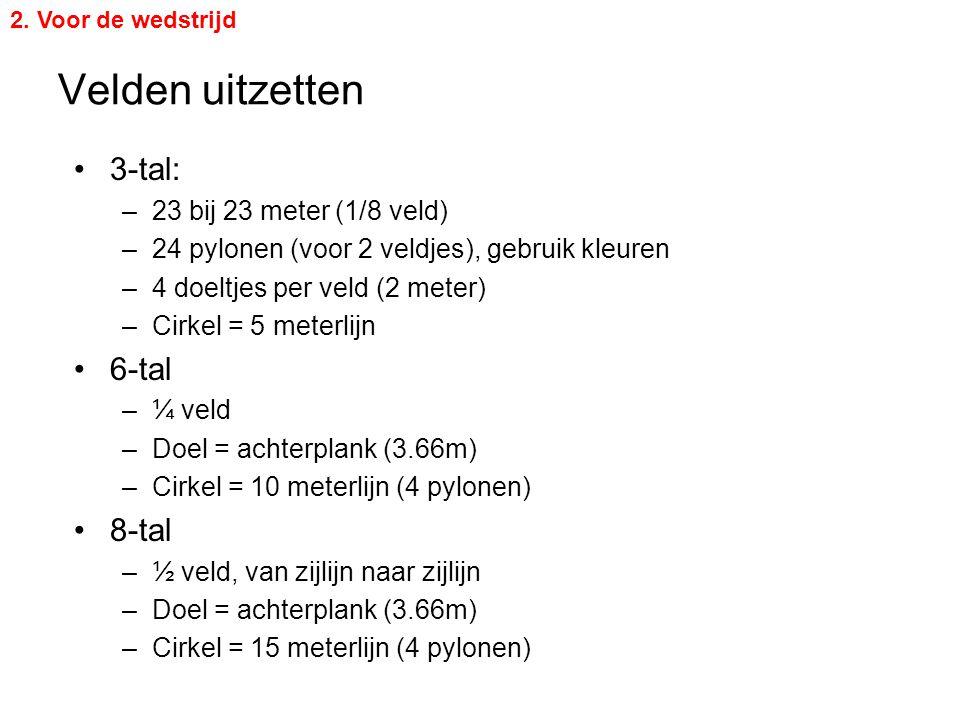 Velden uitzetten 2. Voor de wedstrijd 3-tal: –23 bij 23 meter (1/8 veld) –24 pylonen (voor 2 veldjes), gebruik kleuren –4 doeltjes per veld (2 meter)