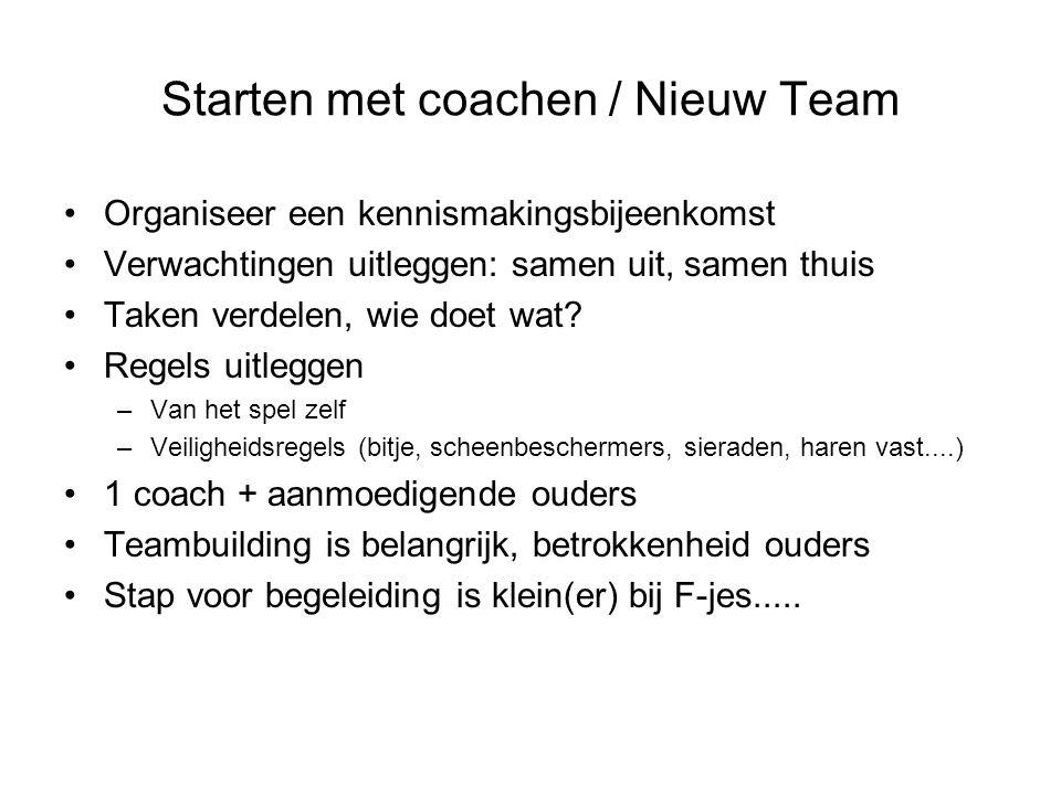 Starten met coachen / Nieuw Team Organiseer een kennismakingsbijeenkomst Verwachtingen uitleggen: samen uit, samen thuis Taken verdelen, wie doet wat?