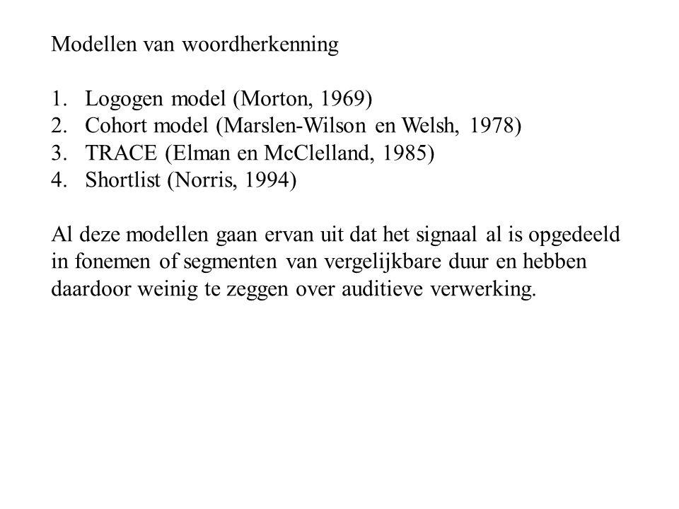 Modellen van woordherkenning 1.Logogen model (Morton, 1969) 2.Cohort model (Marslen-Wilson en Welsh, 1978) 3.TRACE (Elman en McClelland, 1985) 4.Shortlist (Norris, 1994) Al deze modellen gaan ervan uit dat het signaal al is opgedeeld in fonemen of segmenten van vergelijkbare duur en hebben daardoor weinig te zeggen over auditieve verwerking.