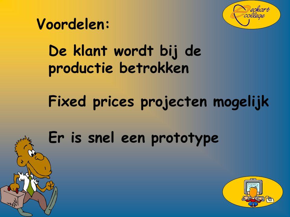 Voordelen: De klant wordt bij de productie betrokken Fixed prices projecten mogelijk Er is snel een prototype