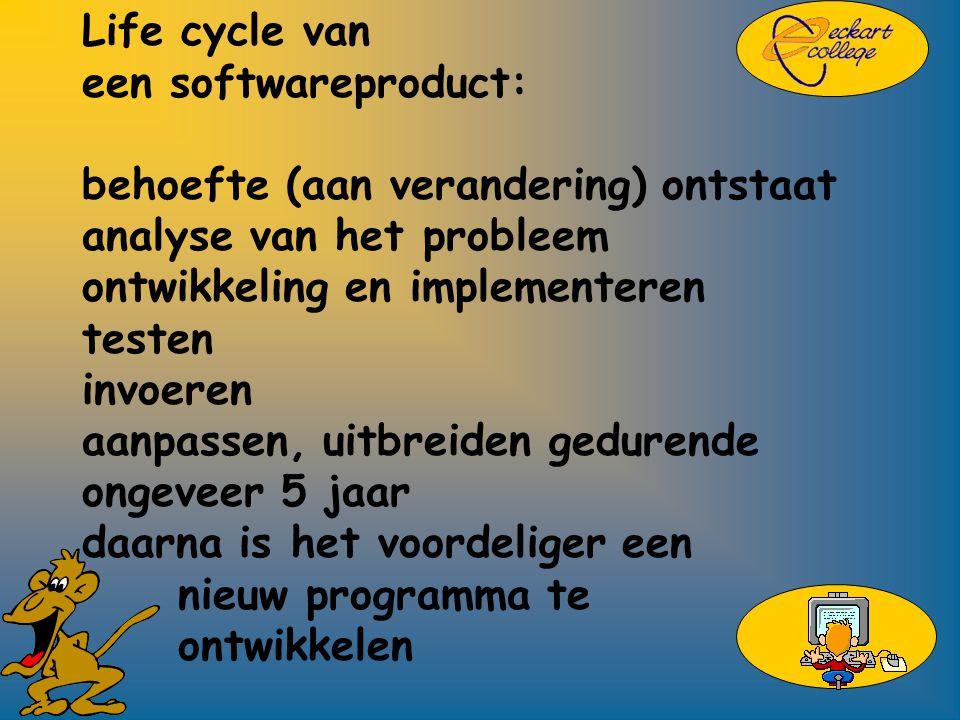 Life cycle van een softwareproduct: behoefte (aan verandering) ontstaat analyse van het probleem ontwikkeling en implementeren testen invoeren aanpassen, uitbreiden gedurende ongeveer 5 jaar daarna is het voordeliger een nieuw programma te ontwikkelen