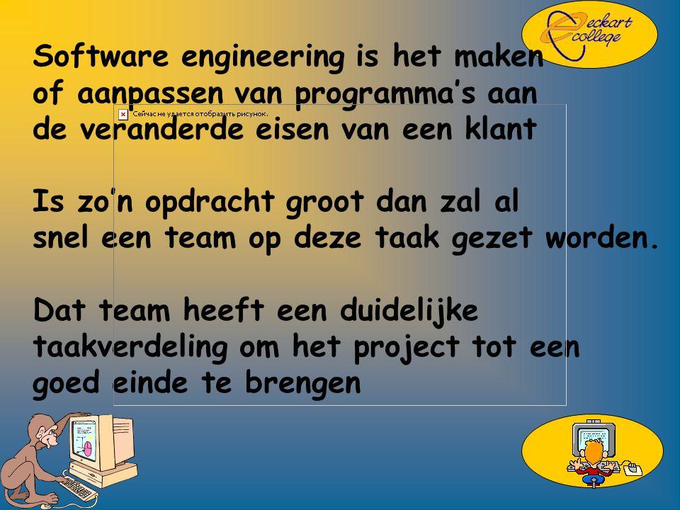 Software engineering is het maken of aanpassen van programma's aan de veranderde eisen van een klant Is zo'n opdracht groot dan zal al snel een team op deze taak gezet worden.