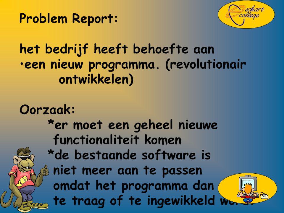 Problem Report: het bedrijf heeft behoefte aan een nieuw programma.