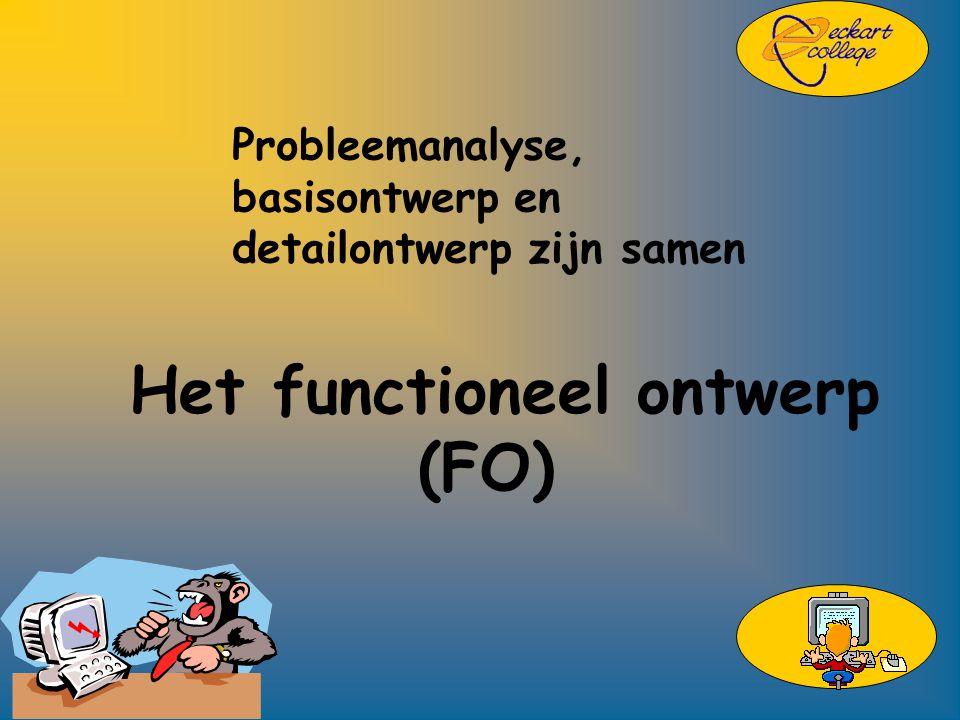 Probleemanalyse, basisontwerp en detailontwerp zijn samen Het functioneel ontwerp (FO)