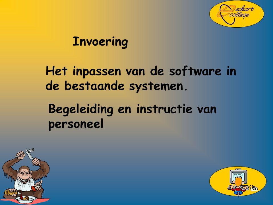 Invoering Het inpassen van de software in de bestaande systemen.