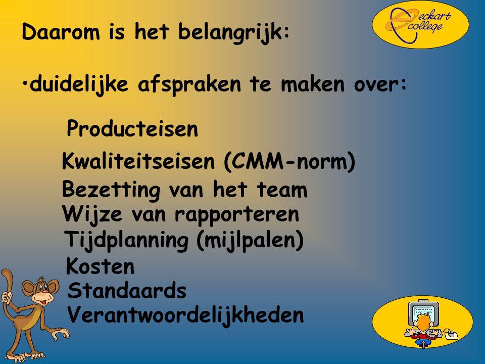 Daarom is het belangrijk: duidelijke afspraken te maken over: Kwaliteitseisen (CMM-norm) Bezetting van het team Wijze van rapporteren Tijdplanning (mijlpalen) Kosten Standaards Verantwoordelijkheden Producteisen