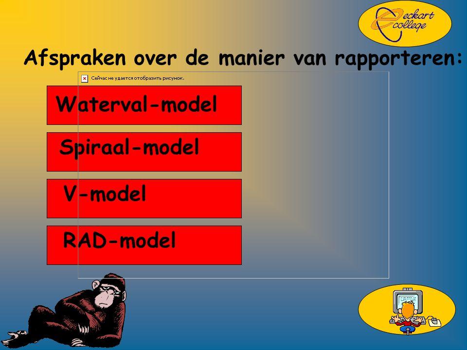Afspraken over de manier van rapporteren: Waterval-model Spiraal-model V-model RAD-model