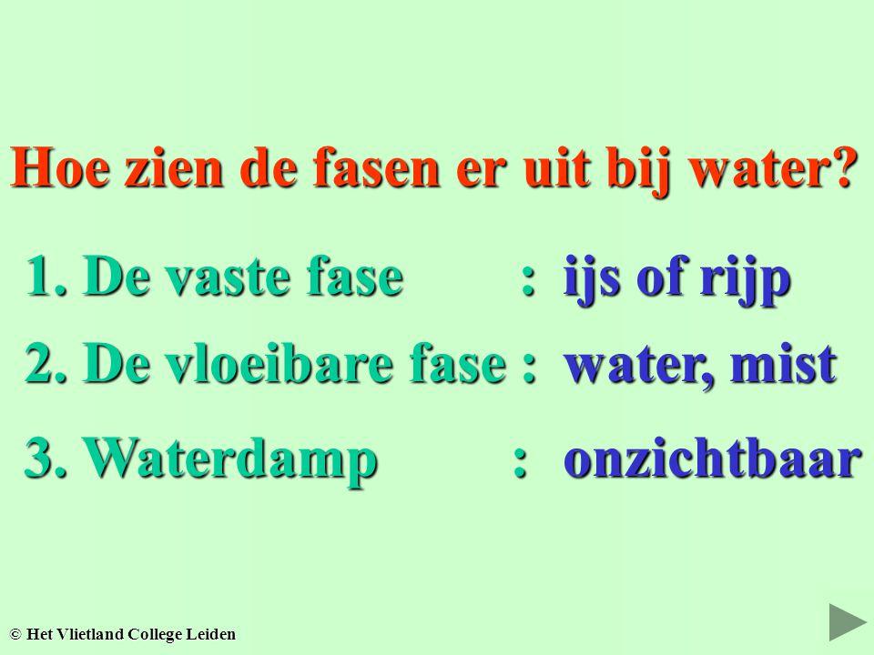 Hoe zien de fasen er uit bij water? water, mist © Het Vlietland College Leiden 3. Waterdamp : 3. Waterdamp : ijs of rijp 2. De vloeibare fase : 2. De