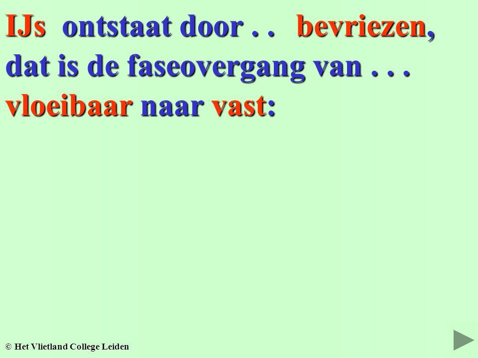 IJs ontstaat door.. © Het Vlietland College Leiden dat is de faseovergang van... vloeibaar naar vast: bevriezen,