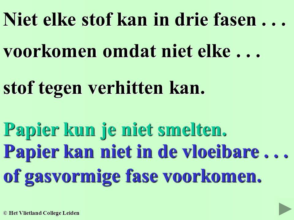 Niet elke stof kan in drie fasen... voorkomen omdat niet elke... stof tegen verhitten kan. © Het Vlietland College Leiden Papier kun je niet smelten.