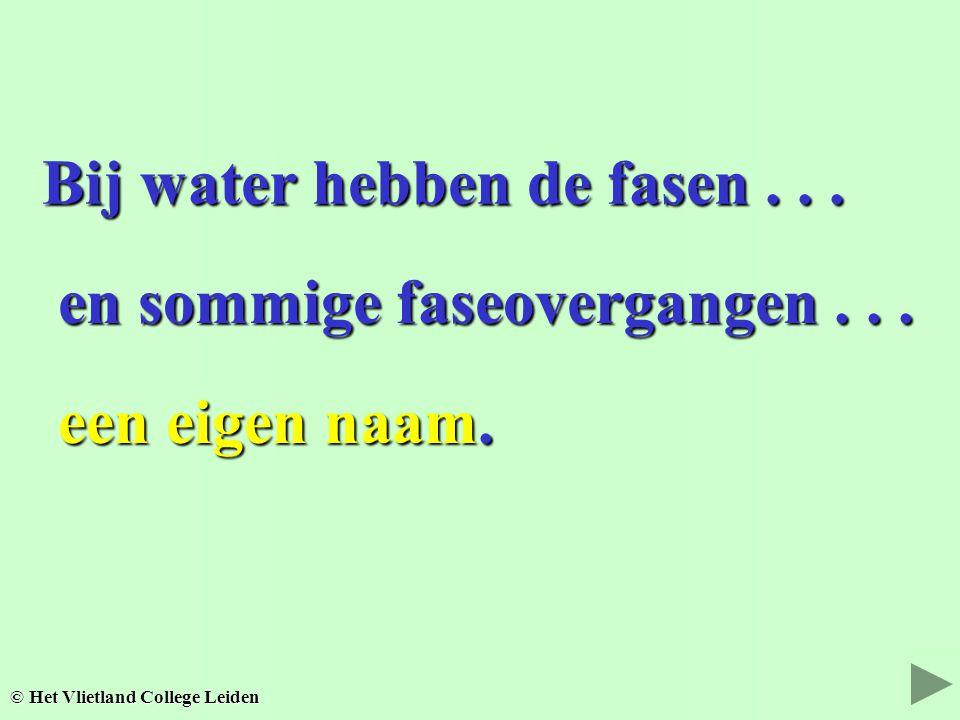Bij water hebben de fasen... Bij water hebben de fasen... en sommige faseovergangen... en sommige faseovergangen... © Het Vlietland College Leiden een