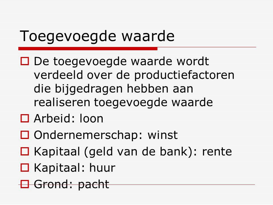 Toegevoegde waarde  De toegevoegde waarde wordt verdeeld over de productiefactoren die bijgedragen hebben aan realiseren toegevoegde waarde  Arbeid: