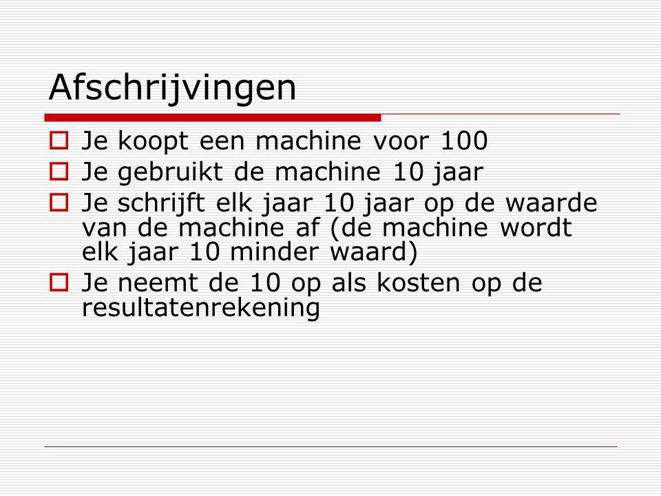 Afschrijvingen  Je koopt een machine voor 100  Je gebruikt de machine 10 jaar  Je schrijft elk jaar 10 jaar op de waarde van de machine af (de mach