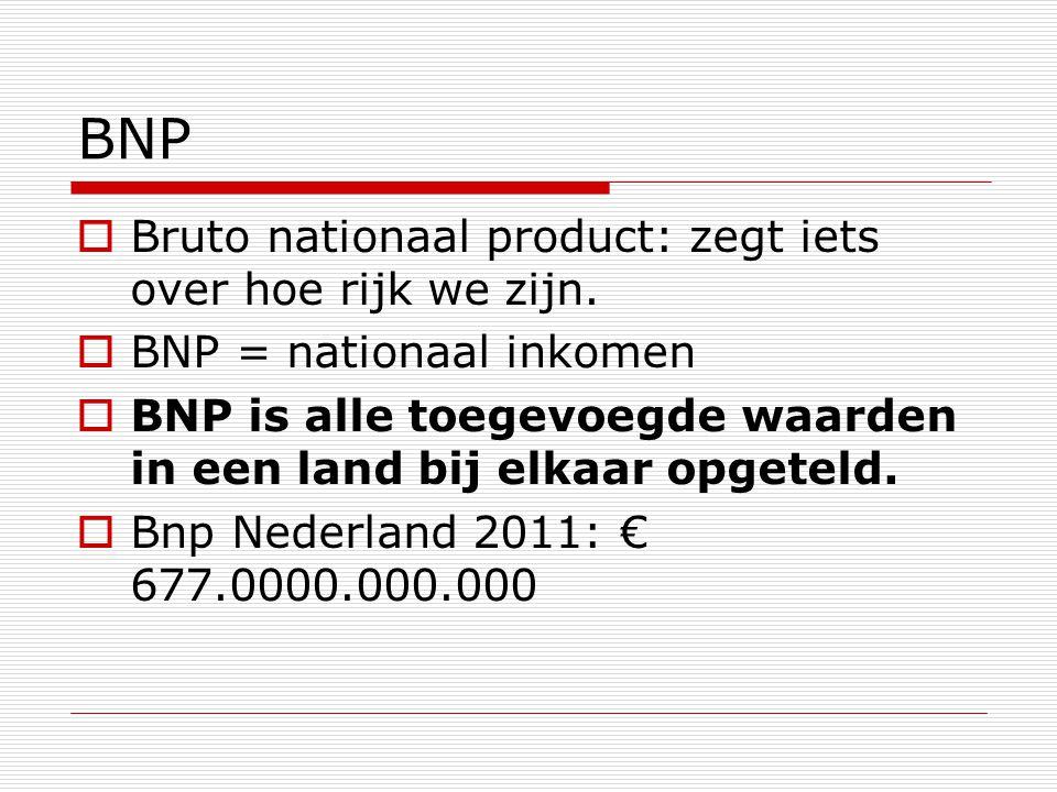 BNP  Bruto nationaal product: zegt iets over hoe rijk we zijn.  BNP = nationaal inkomen  BNP is alle toegevoegde waarden in een land bij elkaar opg