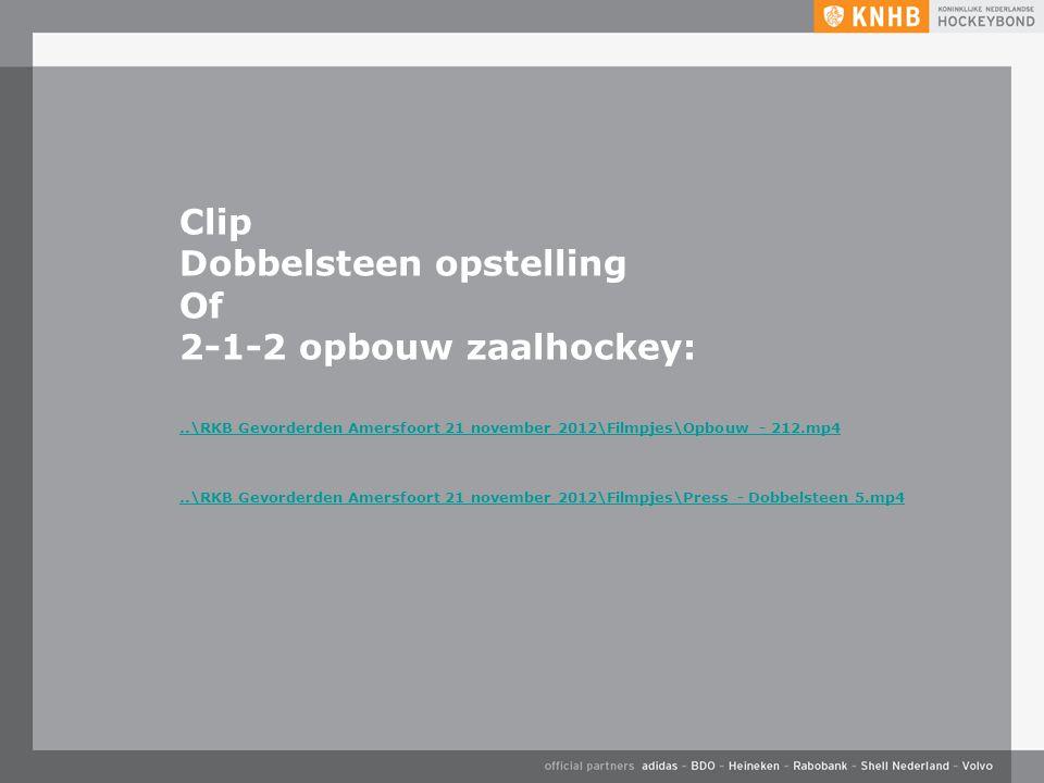 Clip Dobbelsteen opstelling Of 2-1-2 opbouw zaalhockey:..\RKB Gevorderden Amersfoort 21 november 2012\Filmpjes\Opbouw - 212.mp4..\RKB Gevorderden Amersfoort 21 november 2012\Filmpjes\Press - Dobbelsteen 5.mp4