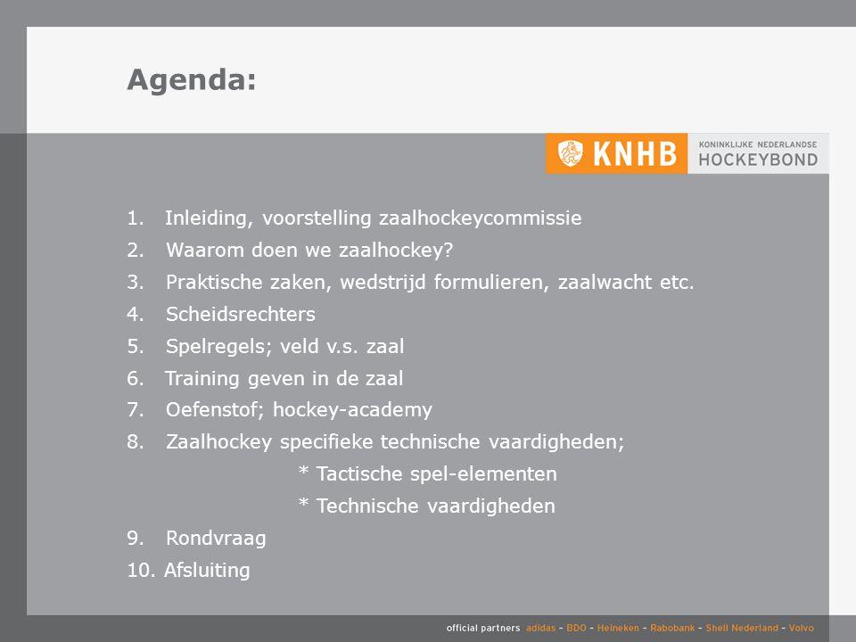 Agenda: 1.Inleiding, voorstelling zaalhockeycommissie 2.