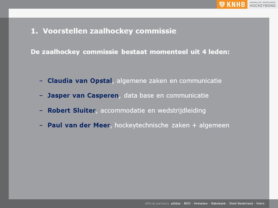 1. Voorstellen zaalhockey commissie –Claudia van Opstal, algemene zaken en communicatie –Jasper van Casperen, data base en communicatie –Robert Sluite