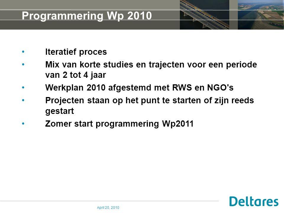 April 20, 2010 Programmering Wp 2010 Iteratief proces Mix van korte studies en trajecten voor een periode van 2 tot 4 jaar Werkplan 2010 afgestemd met