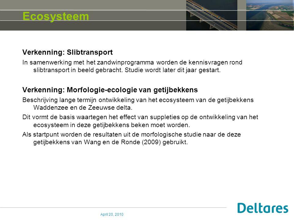 April 20, 2010 Ecosysteem Verkenning: Slibtransport In samenwerking met het zandwinprogramma worden de kennisvragen rond slibtransport in beeld gebrac