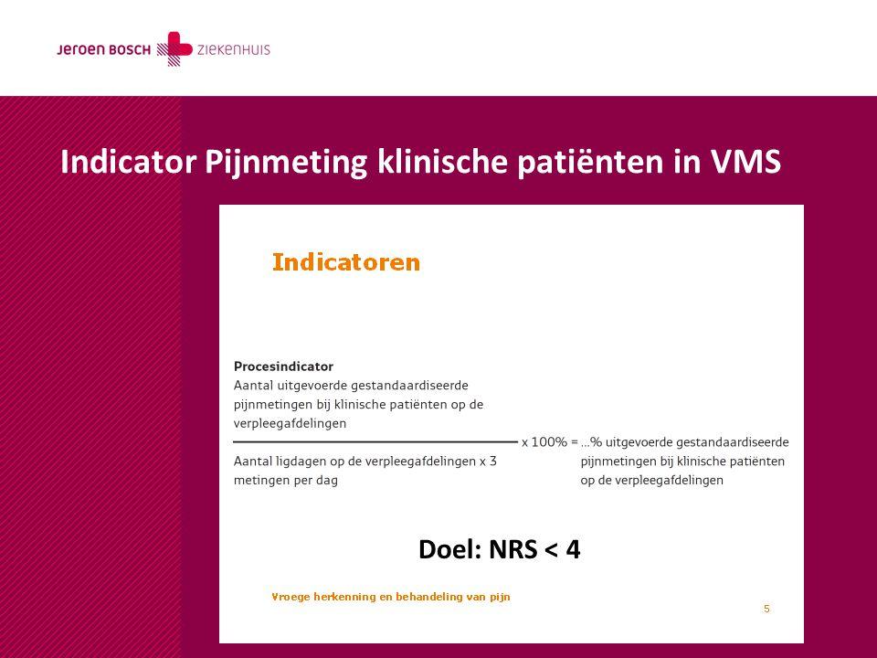 Indicator Pijnmeting klinische patiënten in VMS Doel: NRS < 4