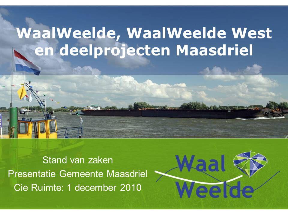 WaalWeelde, WaalWeelde West en deelprojecten Maasdriel Stand van zaken Presentatie Gemeente Maasdriel Cie Ruimte: 1 december 2010