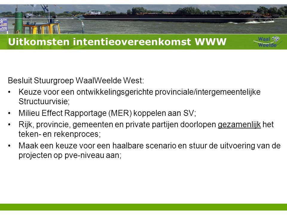 Uitkomsten intentieovereenkomst WWW Besluit Stuurgroep WaalWeelde West: Keuze voor een ontwikkelingsgerichte provinciale/intergemeentelijke Structuurv