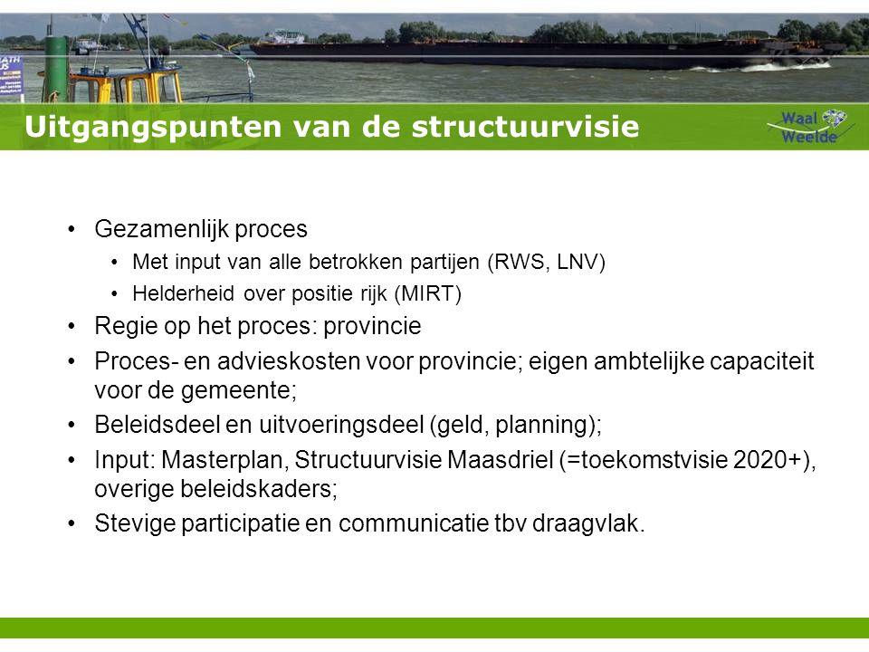 Uitgangspunten van de structuurvisie Gezamenlijk proces Met input van alle betrokken partijen (RWS, LNV) Helderheid over positie rijk (MIRT) Regie op