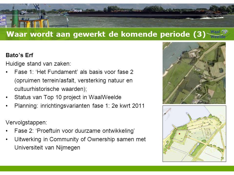 Waar wordt aan gewerkt de komende periode (3) Bato's Erf Huidige stand van zaken: Fase 1: 'Het Fundament' als basis voor fase 2 (opruimen terrein/asfalt, versterking natuur en cultuurhistorische waarden); Status van Top 10 project in WaalWeelde Planning: inrichtingsvarianten fase 1: 2e kwrt 2011 Vervolgstappen: Fase 2: 'Proeftuin voor duurzame ontwikkeling' Uitwerking in Community of Ownership samen met Universiteit van Nijmegen